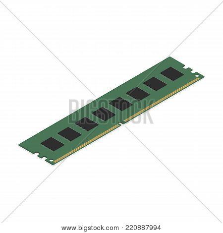 RAM module, isolated on white background, top view. Element for the design of digital devices and computer accessories. Flat 3D isometric style, vector illustration.