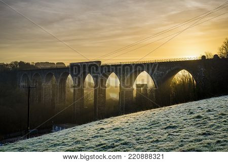 Sunrise At Moorswater Viaduct On A Frosty Winters Morning, Liskeard, Cornwall, Uk