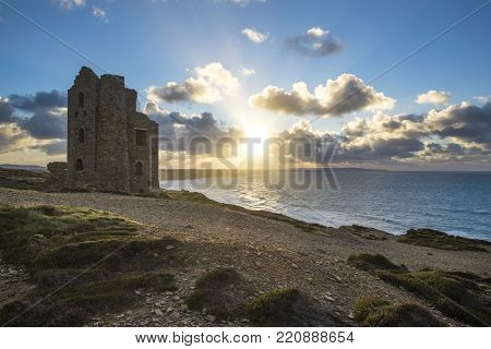 Wheal Coates Tin Min At Sunset With Cloudy Sky, St Agnes, Cornwall Uk