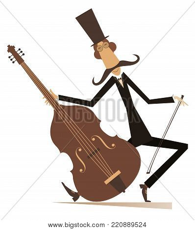 Cartoon long mustache cellist illustration isolated. Smiling mustache man in the top hat is playing music on cello with inspiration