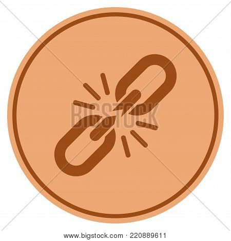 Break Chain Link bronze coin icon. Vector style is a copper flat coin symbol.