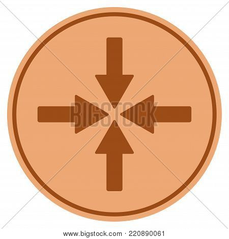 Collide Arrows bronze coin icon. Vector style is a copper flat coin symbol.