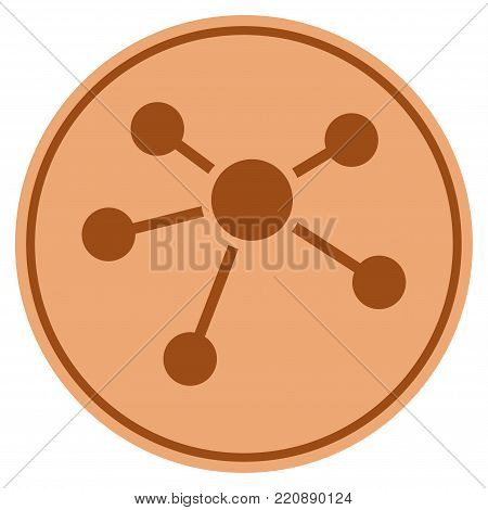 Connections bronze coin icon. Vector style is a copper flat coin symbol.