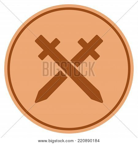 Crossing Swords bronze coin icon. Vector style is a copper flat coin symbol.
