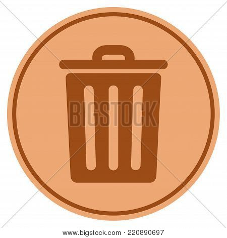Dustbin bronze coin icon. Vector style is a copper flat coin symbol.