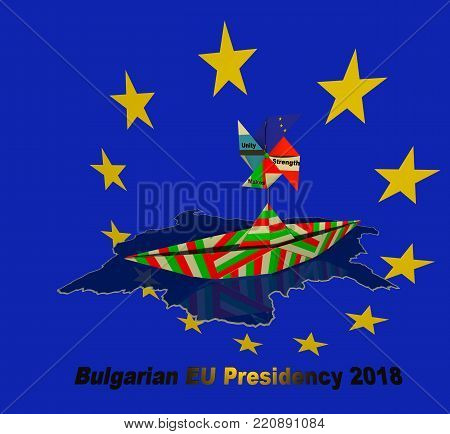 Bulgarian EU council presidency 2018 sign 3D illustration. Paper fold bulgarian flag textured boat floating in the national borders map sea, EU blue flag with yellow stars background, Austrian flag, Estonian flag, motto 3d text, fan shape.