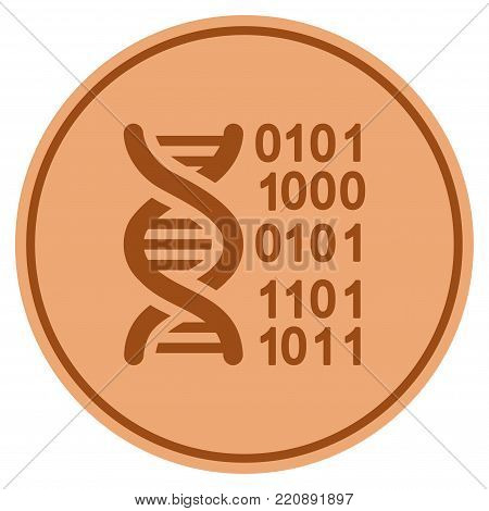 Genome bronze coin icon. Vector style is a copper flat coin symbol.