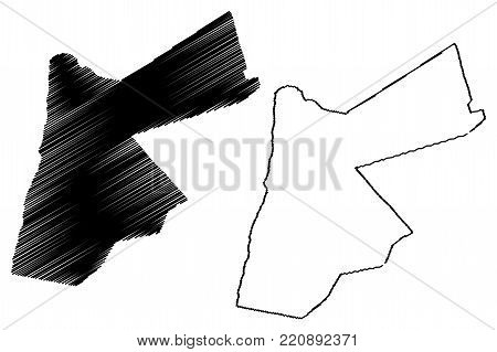Jordan map vector illustration, scribble sketch The Hashemite Kingdom of Jordan