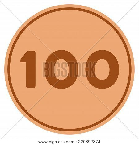 Hundred bronze coin icon. Vector style is a copper flat coin symbol.
