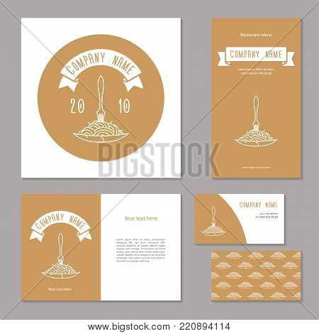 Elements of corporate identity for restaurant, cafe. Vintage corporate branding. Fork in plate with spaghetti with ribbon in beige background. Menu, booklet, business card and banner.