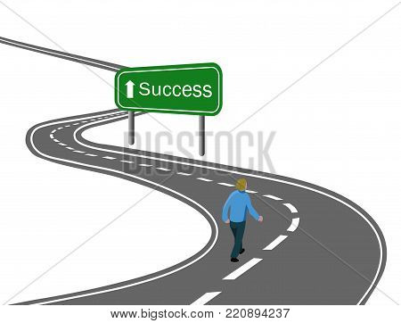 Goal Concept Achieve Reach The Target One Man Walking In Snow Up To Hill Mountain With Red Flag Sign