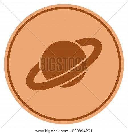 Planet Saturn bronze coin icon. Vector style is a copper flat coin symbol.