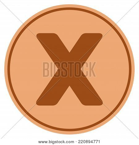 Roman Ten bronze coin icon. Vector style is a copper flat coin symbol.
