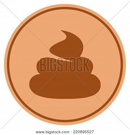 Shit bronze coin icon. Vector style is a copper flat coin symbol.