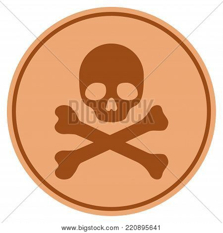 Skull And Crossbones bronze coin icon. Vector style is a copper flat coin symbol.