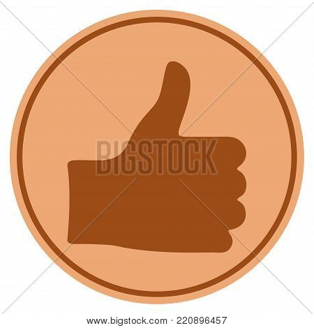 Thumb Up bronze coin icon. Vector style is a copper flat coin symbol.