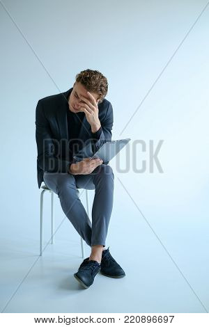 tired withdrawn sad man. bad news failure stress concept. Alone with the problems.