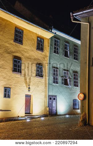 Night view of historic town Sighisoara. City in which was born Vlad Tepes, Dracula