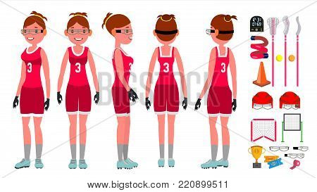 Lacrosse Girl Vector. Catch The Ball. Running. Teammates In Different Poses. Sport ompetitions. Cartoon Character Illustration