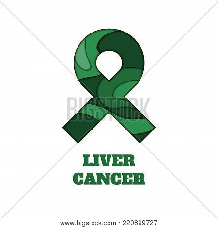 Liver cancer awareness poster. Emerald green ribbon made in 3D paper cut and craft style on white background. Medical concept. Vector illustration.