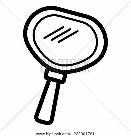 Hand mirror vector icon. Black and white mirror illustration. Solid linear beauty icon. eps 10