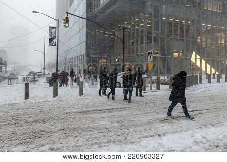 NEW YORK-JUNARY 4: A snow filled street scene during the
