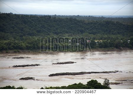 Aerial view landscape Mekong river from cliffs above the Mekong at Pha Taem National Park in Ubon Ratchathani, Thailand