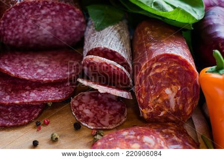 Assortment of processed meat products. Delicious food to make tasty sandwiches concept