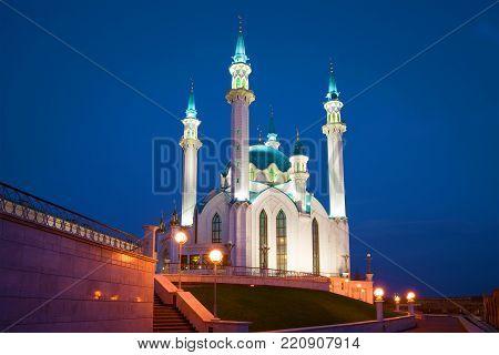 The Kul-Sharif mosque in the May night. The Kazan Kremlin, Tatarstan