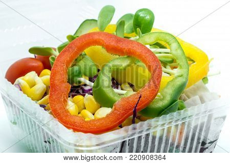 Salad fresh vegetables and sweet peeper on white background for heathy eating concept