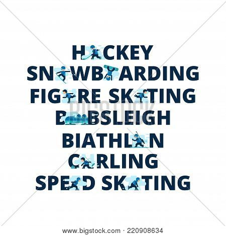 Winter sports titles from letters with athletes. Names of winter sports. Vector illustration of different sports isolated on white background