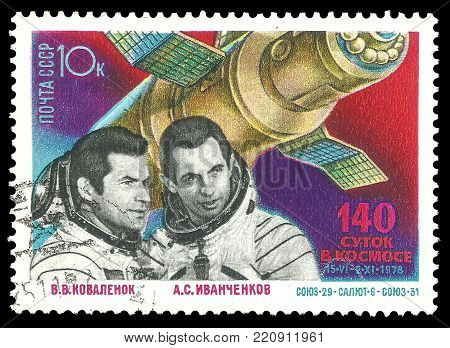 USSR - circa 1978: Stamp printed by USSR, Color edition on Space Research, shows Astronauts 140 Days in Space, circa 1978