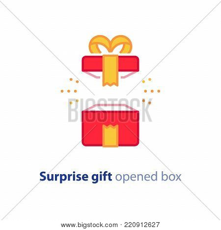 Surprise gift icon, opened red box with yellow ribbon, best present, super prize concept, special event celebration, receiving birthday gift, vector flat design illustration