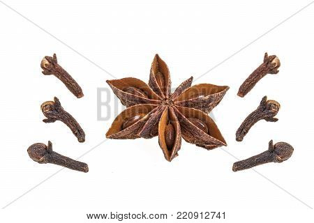 Anise star with six clove on white background