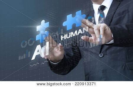 Business man mergers A.I. (Artificial Intelligence) and human for company management