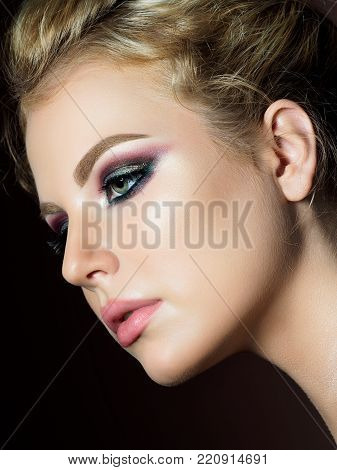 Beauty Portrait Of Young Woman Evening Makeup