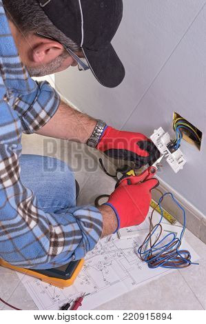 Electrician prepares the conducting cables with insulated scissors to assemble the electrical system.
