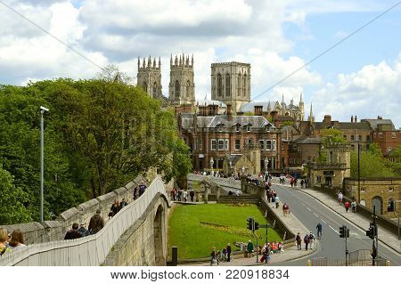 York, Yorkshire, England, UK - May 22, 2016 : Histirical York city centre viewed from York City Wall