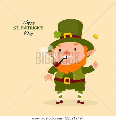 St.Patrick 's Day. Leprechaun, Traditional national character of Irish folklore. Isolated element of the set of leprechauns 08. Festive collection. Vector illustration.