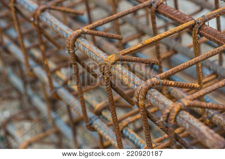 Wire, Rebar tie wire. Steel bars reinforcement on a construction site. poster