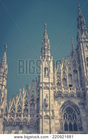 Milan Cathedral (Duomo di Milano) in Milan, Italy. Milan Duomo is the largest church in Italy and the fifth largest in the world.