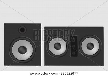 Musical Speaker Vector Illustration. Modern Acoustic On White Background.