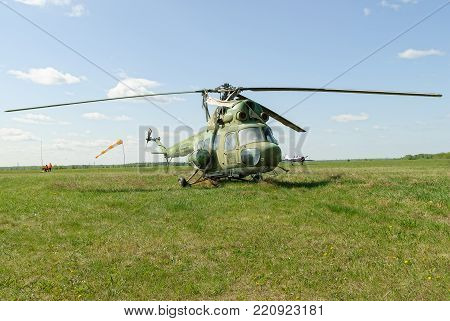 Yalutorovsk, Russia - May 24. 2008: Sport airport. Old Mi-2 helicopter on grass
