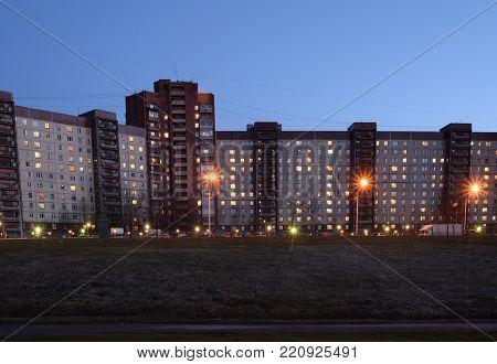 Modern residential buildings at evening on the outskirts of St. Petersburg, Russia.