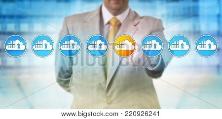 Unrecognizable manager is spotting the only one insecure cloud container in a lineup of eight otherwise secure containerized apps. Cloud computing and security concept for software quality assurance.