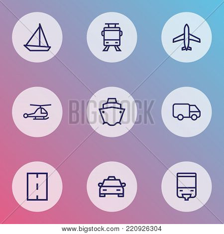 Shipment icons line style set with aircraft, road, taxi and other aircraft elements. Isolated vector illustration shipment icons.