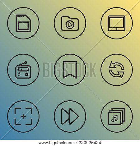 Music icons line style set with music, flag, synchronize and other tuner elements. Isolated vector illustration music icons.