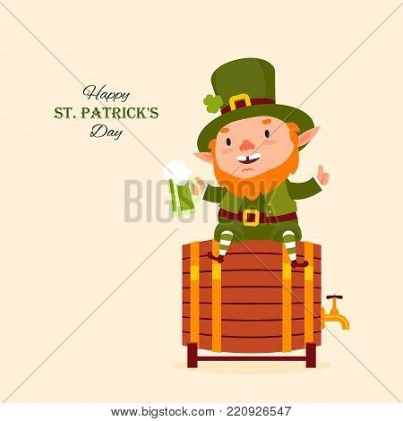 St.Patrick 's Day. Leprechaun sits on a barrel with a pint of green beer in his hand. Traditional national character of Irish folklore. Element of the set of leprechauns. Festive collection. Isolated