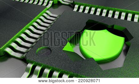 Cracked open CPU reveals a green shield symbol cybersecurity concept 3D illustration