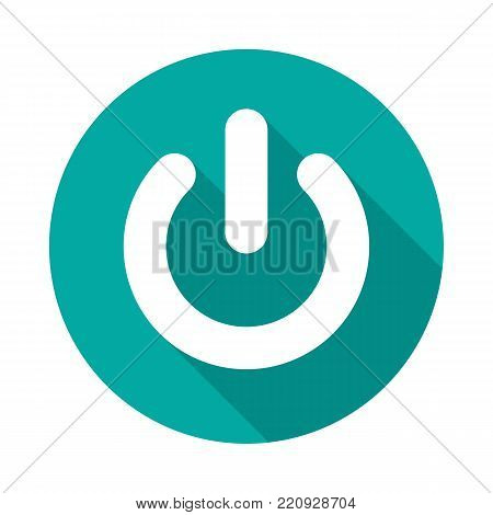 Power button circle icon with long shadow. Flat design style. Power on off button simple silhouette. Modern, minimalist, round icon in stylish colors. Web site page and mobile app design vector element.